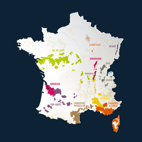 Map French wines